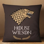 Game of Thrones Gift. Game of Thrones Pillow of House Stark. House Name Personalized Game of Thrones Decorative Pillow. Housewarming Gift.