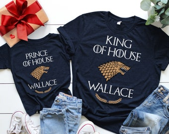ae35cc23f0f Family Matching Shirts (Navy Blue), Father Son Matching Shirts, Dad and  Baby Matching Shirts, Last Name Personalized Game of Thrones Shirts.