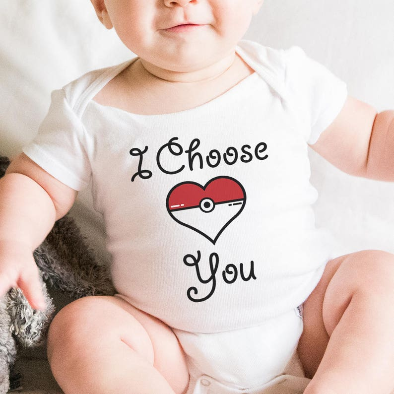 I Choose You Baby Onesie Pokemon Baby Gift Birthday Gift Baby Shower Gift Pokemon Heart Baby Onesie POKEMON Baby Onesie Valentines Gift