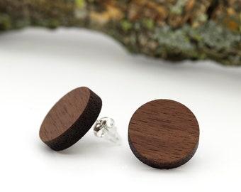 Wood Earrings | wood jewelry | Walnut |Sterling Silver 925 |handmade wooden stud earrings |