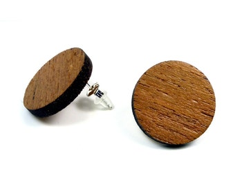 Wooden Earrings   natural wood earrings  Teak   Wooden ear plug Sterling Silver  