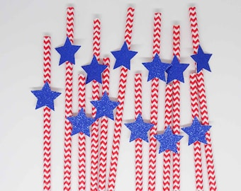 Independence Day Paper Straws, 4th of July Party Supplies