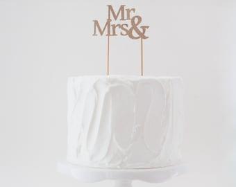 Mr & Mrs Cake Topper, Wedding Cake Topper, Glitter Wedding Cake Topper