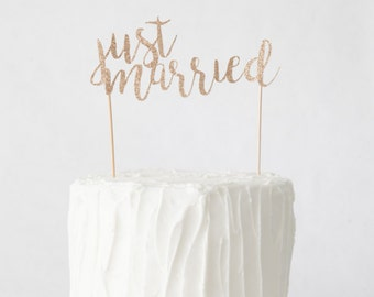 Just Married Cake Topper, Wedding Cake Topper, Gold Glitter Wedding Cake Topper
