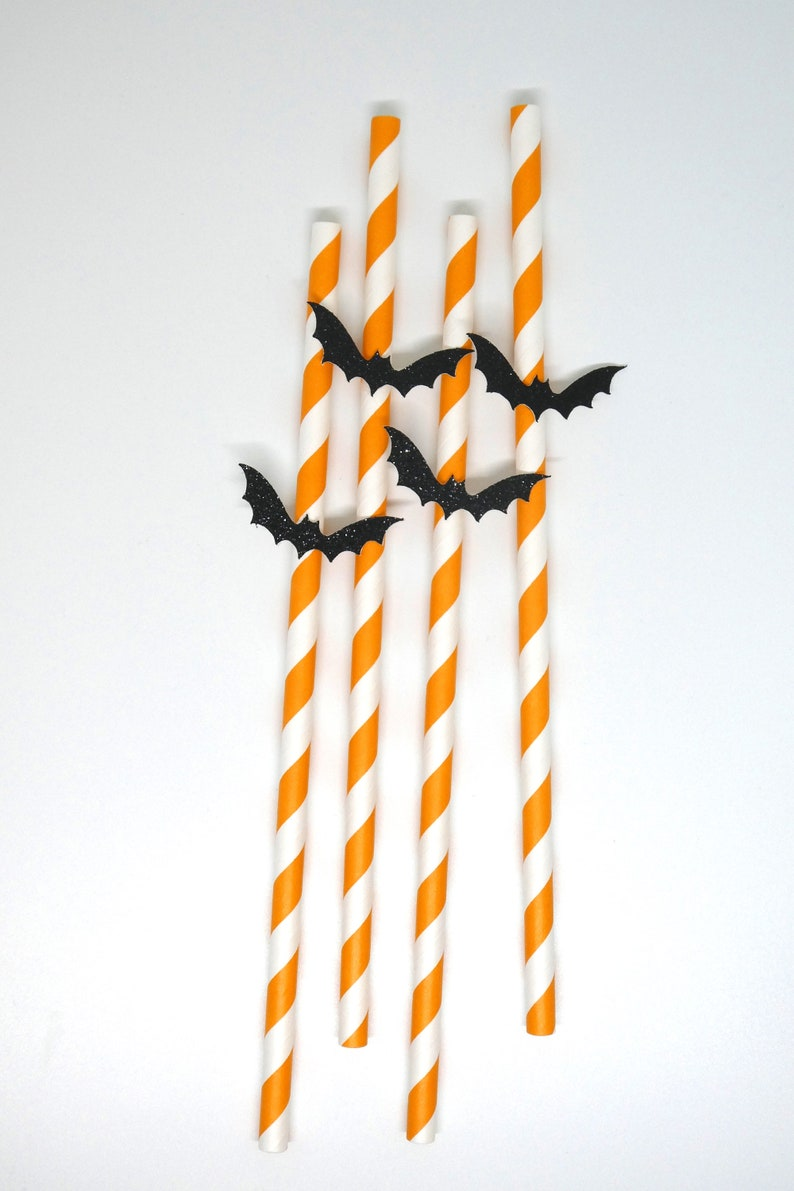 Halloween Party Supplies Bat Paper Straws