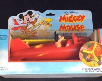 Rare Vintage Walt Disney Mickey Mouse Motorized Stunt Plane