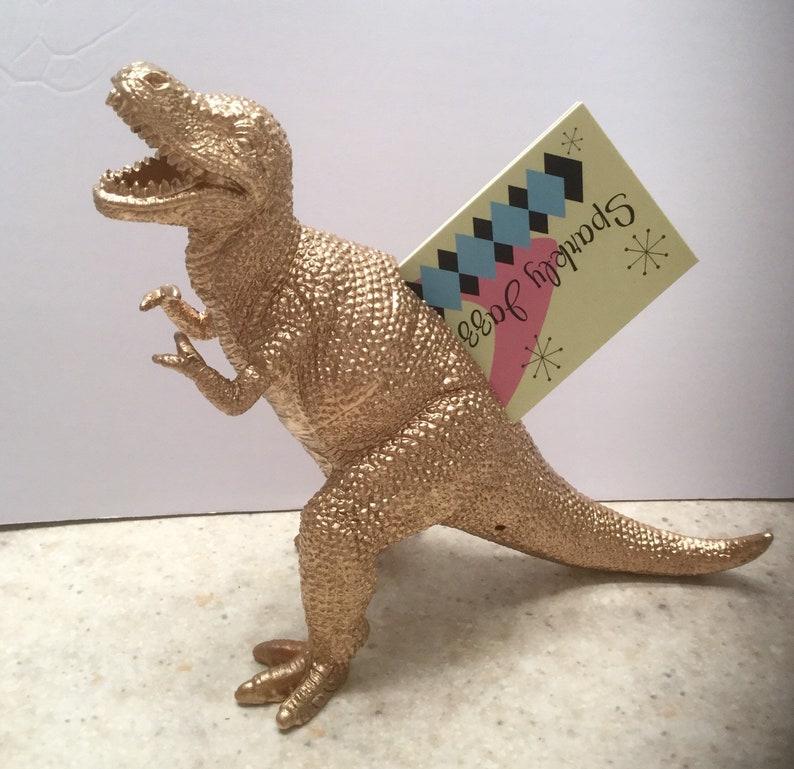 T-Rex Gold Dinosaur Business Card Holders image 0