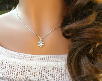 Aqua Crystal Sterling Silver Snowflake Necklace, Aqua Crystal Snowflake Necklace, Aqua Crystal Necklace, Winter Jewelry, Sparkling Necklace