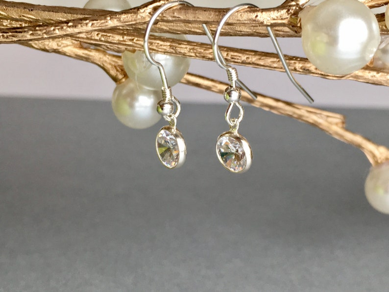 Bridesmaid Sterling Silver Cubic Zirconia Earrings CZ Earrings Wedding Sterling Silver Earrings Dangle Sparkling Special Event Jewelry