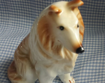 Vintage Collie Dog  Lessy Bone China Ceramic Collectible