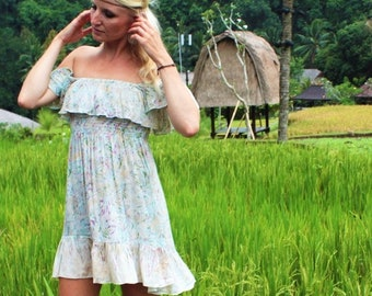 Lolita Dress, summer dress, Babydoll, Boho Dress, Off Shoulder, Mini Dress, Maternity fashion, Garden Party Dress, Beach dress, floral dress