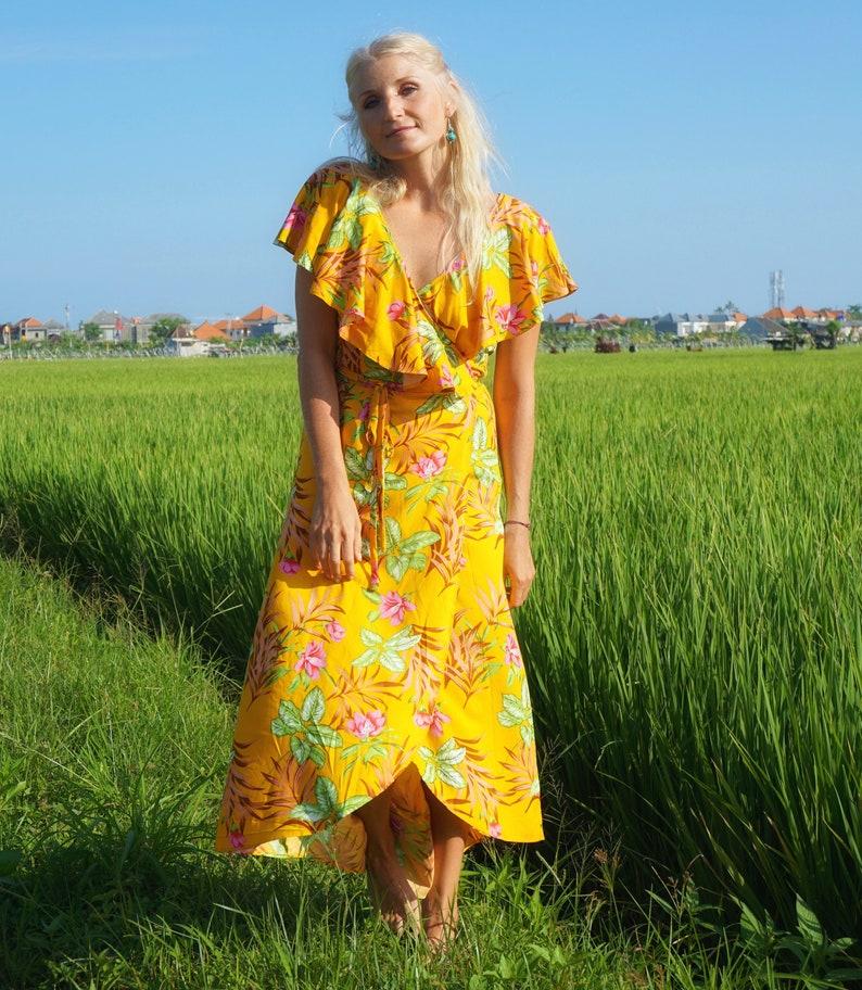 ae75cc1789 Floral Print Dress Wrap Dress Flounce Dress Boho Summer | Etsy