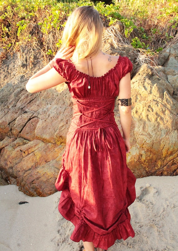 witchy Gypsy dress Dress Dress dress cotton dress Dress dress Steampunk Bridesmaid Cocktail Robe red Red Festival wedding ZAq7wxqf