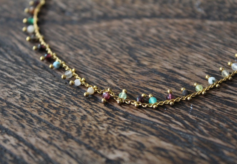 foot jewelry gold plated chain anklet in gold boho summer ankle bracelet Fine foot chain gemstone stainless steel 18k gold plated beachwear