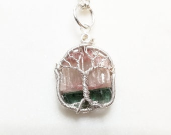 Pink and Blue Tourmaline Tree of Life Pendant