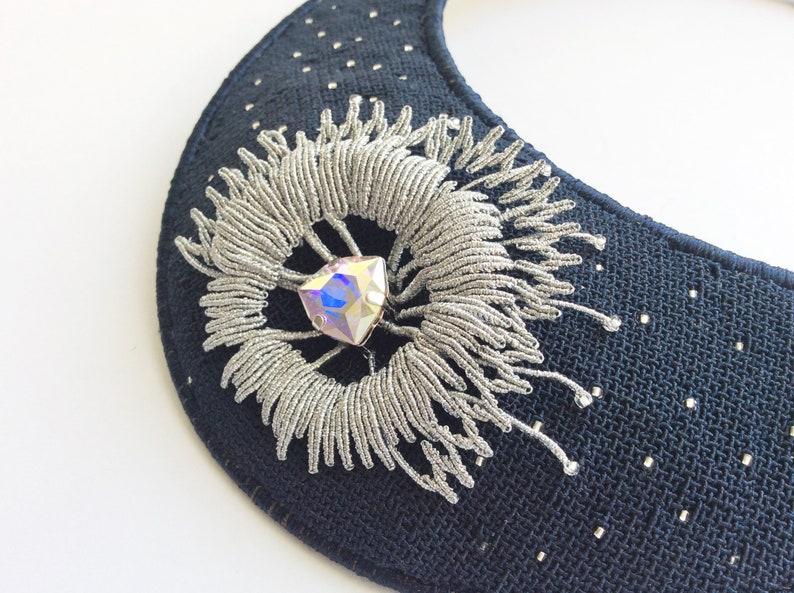 Bohemian style one of a kind necklace Blue Silver Bib necklace Boho Evening jewerly Statement necklace Small micro macrame Swarovsky