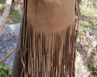 Bohemian fringe bag, sued leather fringe bag, gypsy bag, leather crossbody, handmade leather bag, festival bag, boho leather bag, hippie bag