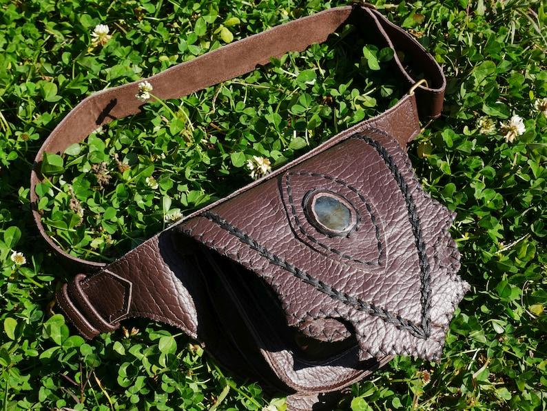 c31f975118ce Leather belt bag with real gemstone | brown leather fanny pack - festival  fashion pocket belt | handmade hip bag - boho style waist bag