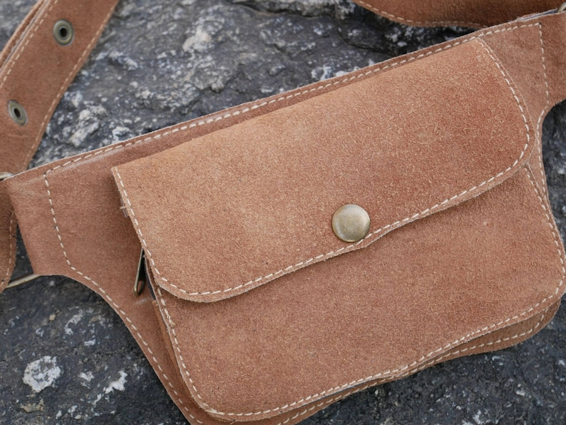 sued leather smartphone pouch leather utility bet waist bag brown belt bag hippie belt pouch Leather fanny pack festival hip bag