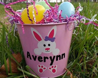 Easter Bucket, Metal Pail, Metal Bucket, Easter Basket, rabbit, bunny, bunny rabbit, personalized Easter basket, Easter eggs, girl, boy, bow
