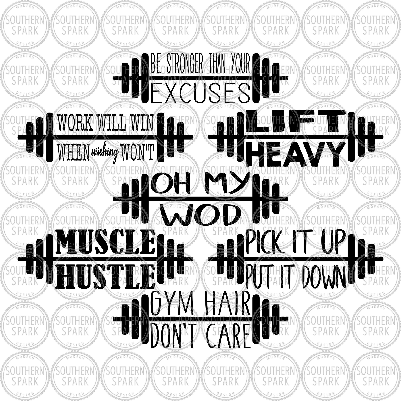 bundle of workout sayings svg png eps pdf jpg dxf barbell