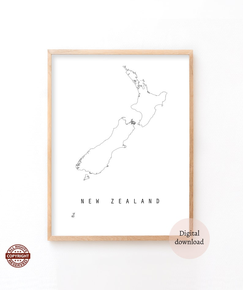 photograph regarding New Zealand Map Printable identified as Clean Zealand, Refreshing Zealand, Low Map, Printable information, Minimalistic wall artwork, Nation map, Bare minimum artwork, Immediate down load