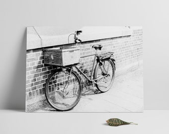 Bicycle, Black and White Photography, Vinatge, Printable files, Old Bike,Wall art, Moody Photo art, Instant Download, Wall art, Print me