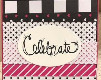Celebrate Birthday Card in Pink and Black