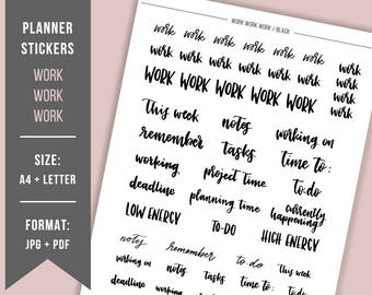 PRINTABLE stickers Work Hand lettered Bullet Journal sticker Printable planner sticker BuJo printable Business planner BuJo header