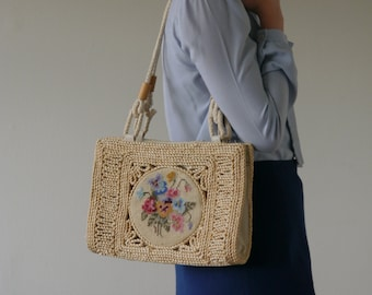 55969d72b61 70s Vintage Wicker Shoulder Bag with Round Needlework Boho Woven Purse with  Embroidered Flowers Straw Purse