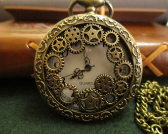Steampunk clock with gears, steampunk clock with gears
