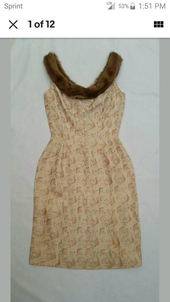 Vintage 60's Suzy Perette Brocade Dress with Mink
