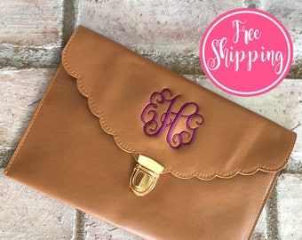BROWN CLUTCH BAG - Bridesmaid Clutch - Bridesmaid Purse - Bridesmaid Gift - Makeup Bag - Monogram Clutch Bag - Monogram Clutch - Leather Bag