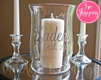 Unity Candle Holder Set - Name & Est - FREE SHIPPING - Unity Ceremony - Glass Candle Holder - Hurricane Vase - Wedding Candle - Wedding Gift