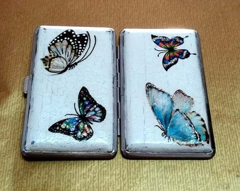 Metal cigarette case with butterflies,Butterflies on the cigarette case,Cigarette case,Butterflies,Gift cigarette case with butterflies,