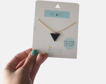 Básic balance necklace - necklace, balance, geometric, triangle, wood, lasercut, accesories, jewelry, handmade, gift, friend, for her