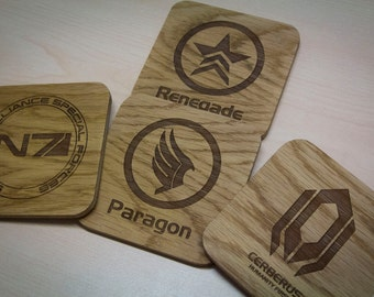 Paragon, Renegade, N7, Cerberus Inspired Drinks Coasters - Set of Four
