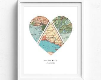 Wedding Gift, Bridal Shower Gift, Engagement Gift, Heart Map Art, Map Heart, Heart Map, Personalised Map Gift, Housewarming Gift, Map Decor