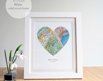 Heart Map Art, Map Heart, Heart Map Print,Personalized Map Framed, Personalized Map Gift,New Home Map Gift, Wood Framed,14 x 12 inches