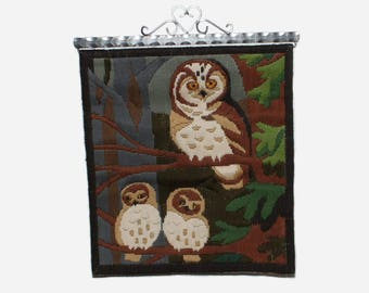 Lovely vintage handembroidered Wall hanging Tapestry with three wise Owls. Made in Sweden Scandinavian.