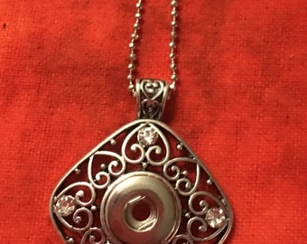 "Pretty New Silver 12mm Interchangeable Snap Necklace - Includes a 20"" chain"