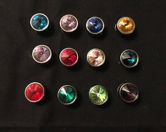 Various Colors of Rhinestone 8mm Slider Birthstone Charms - Take Your Pick - Price is Per Charm