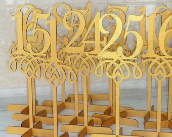 Set 1-25 Wedding Table Number Gold table numbers Wood table numbers Rustic table numbers