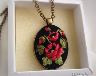 Red poppy pendant Embroidered with silk ribbon  Black Red Pendant Floral embroidery  Embroidered jewelry Needlework necklace