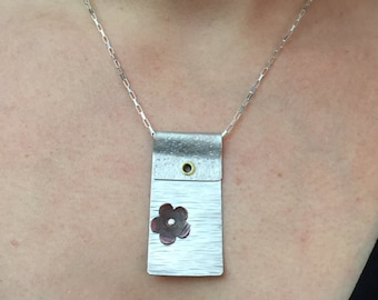 Riveted Copper Flower on Textured Sterling
