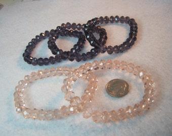 Genuine Swarovski Crystal Stretch Bracelet Passionate Purple or Pastel Pink 8mm x 6mm Large Beads Fits Up to Medium Wrist