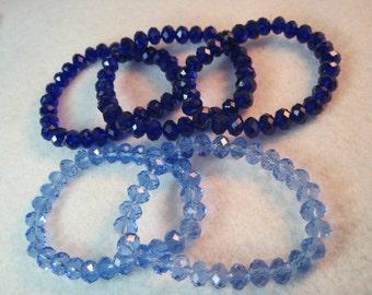 Genuine Swarovski Crystal Stretch Bracelet Large 8mm Size Light Blue or Dark Blue Crystals