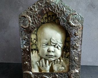 OOAK Doll head sculpture, Metallic Shadow box shrine, nicho altar, creepy doll head art, doll hands, ceramic doll head sculpture, handmade