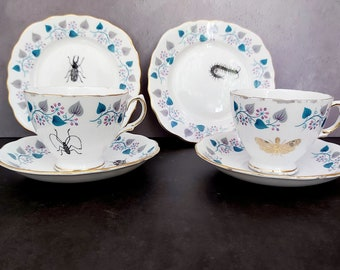 Skull Insects Vintage china tea cups, insect beetles cups saucers, ants spiders cups, Halloween cup and saucer, goth wedding gift