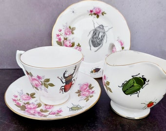 Insects Vintage china tea cups, insect beetles cups saucers, ants spiders cups, Halloween cup and saucer, goth wedding gift, gothic wedding